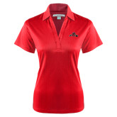 Ladies Red Performance Fine Jacquard Polo-Hammy w/ Hockey Stick