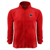 Fleece Full Zip Red Jacket-Badge
