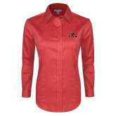 Ladies Red House Red Long Sleeve Shirt-Hammy w/ Hockey Stick