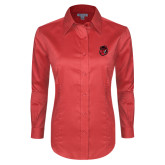 Ladies Red House Red Long Sleeve Shirt-Hammy Head