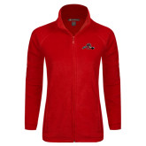 Ladies Fleece Full Zip Red Jacket-Hammy w/ Hockey Stick