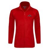 Ladies Fleece Full Zip Red Jacket-Hammy w/ Hockey Stick