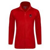Ladies Fleece Full Zip Red Jacket-Hammy Head