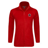 Ladies Fleece Full Zip Red Jacket-Badge