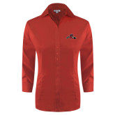 Ladies Red House Red 3/4 Sleeve Shirt-Hammy w/ Hockey Stick