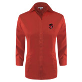 Ladies Red House Red 3/4 Sleeve Shirt-Hammy Head