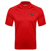 Red Textured Saddle Shoulder Polo-Hammy w/ Hockey Stick