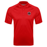 Red Textured Saddle Shoulder Polo-Badge