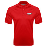 Red Textured Saddle Shoulder Polo-IceHogs Wordmark