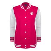 Ladies Pink Raspberry/White Fleece Letterman Jacket-Hammy Head