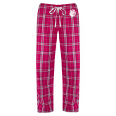 Ladies Dark Fuchsia/White Flannel Pajama Pant-Hammy Head