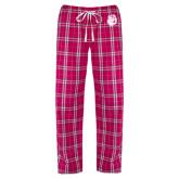 Ladies Dark Fuchsia/White Flannel Pajama Pant-Hammy Head
