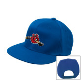 Royal Flat Bill Snapback Hat-Hammy w/ Hockey Stick