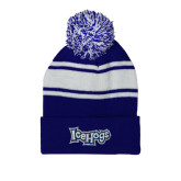 Royal/White Two Tone Knit Pom Beanie with Cuff-IceHogs Wordmark