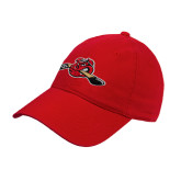 Red Twill Unstructured Low Profile Hat-Hammy w/ Hockey Stick