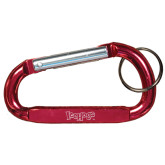 Red Carabiner with Split Ring-IceHogs Wordmark Engraved
