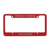Metal Red License Plate Frame-Rockford