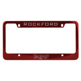 Metal Red License Plate Frame-IceHogs Wordmark Engraved