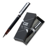 Cutter & Buck Black/Tortoise Shell Draper Ballpoint Pen-IceHogs Wordmark Engraved