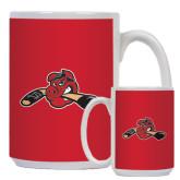 Full Color White Mug 15oz-Hammy w/ Hockey Stick