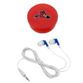 Ear Buds in Red Case-Hammy w/ Hockey Stick