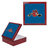 Red Mahogany Accessory Box With 6 x 6 Tile-Hammy w/ Hockey Stick