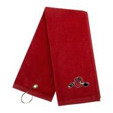 Red Golf Towel-Hammy w/ Hockey Stick