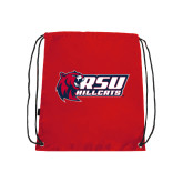Nylon Red Drawstring Backpack-Stacked Combination Logo