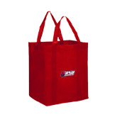 Non Woven Red Grocery Tote-Stacked Combination Logo