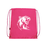 Nylon Pink Drawstring Backpack-Official Logo