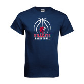 Navy T Shirt-Hillcats Basketball Stacked w/Ball