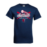 Navy T Shirt-Softball Crossed Bats
