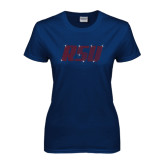 Next Level Ladies SoftStyle Junior Fitted Navy Tee-RSU Rhinestones
