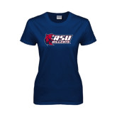 Ladies Navy T Shirt-Stacked Combination Logo