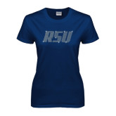 Ladies Navy T Shirt-RSU Rhinestones