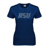 Ladies Navy T Shirt-RSU Rhinestones