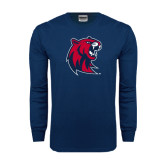 Navy Long Sleeve T Shirt-Official Logo Distressed