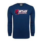 Navy Long Sleeve T Shirt-Stacked Combination Logo