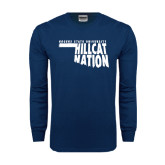 Navy Long Sleeve T Shirt-Hillcat Nation