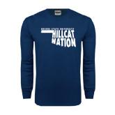 Navy Long Sleeve T Shirt-Hillcat Nation