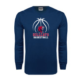 Navy Long Sleeve T Shirt-Hillcats Basketball Stacked w/Ball