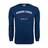 Navy Long Sleeve T Shirt-Golf Crossed Clubs