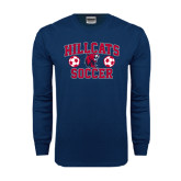 Navy Long Sleeve T Shirt-Hillcats Soccer Stacked