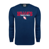 Navy Long Sleeve T Shirt-Hillcats Track & Field Stacked