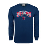 Navy Long Sleeve T Shirt-Baseball Crossed Bats