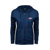 ENZA Ladies Navy Fleece Full Zip Hoodie-Stacked Combination Logo
