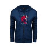 ENZA Ladies Navy Fleece Full Zip Hoodie-Official Logo
