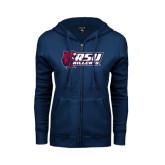 ENZA Ladies Navy Fleece Full Zip Hoodie-Stacked Combination Logo