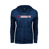 ENZA Ladies Navy Fleece Full Zip Hoodie-University Logo