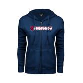 ENZA Ladies Navy Fleece Full Zip Hoodie-University Logo